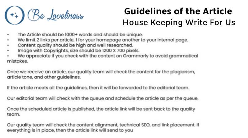 Guidelines House keeping write for us