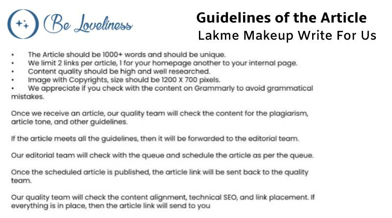 Guidelines Lakme Makeup write for us