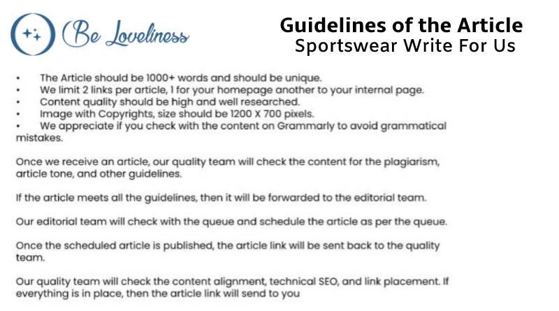 Guidelines Sportswear write for us