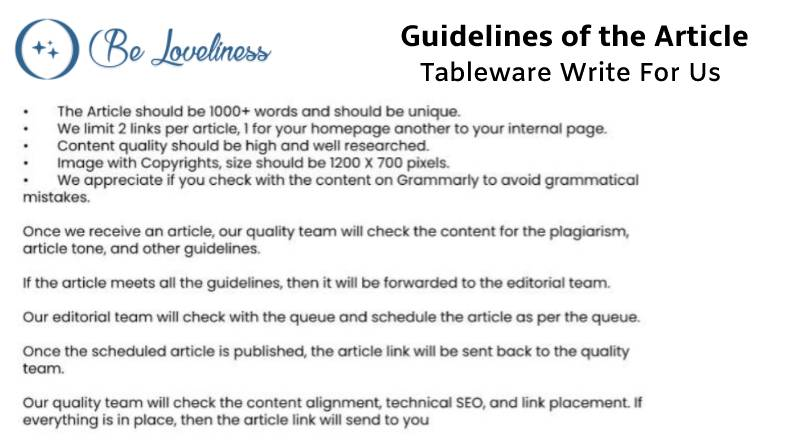 Guidelines Tableware write for us