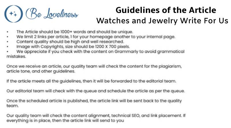 Guidelines Watch and jewelary write for us