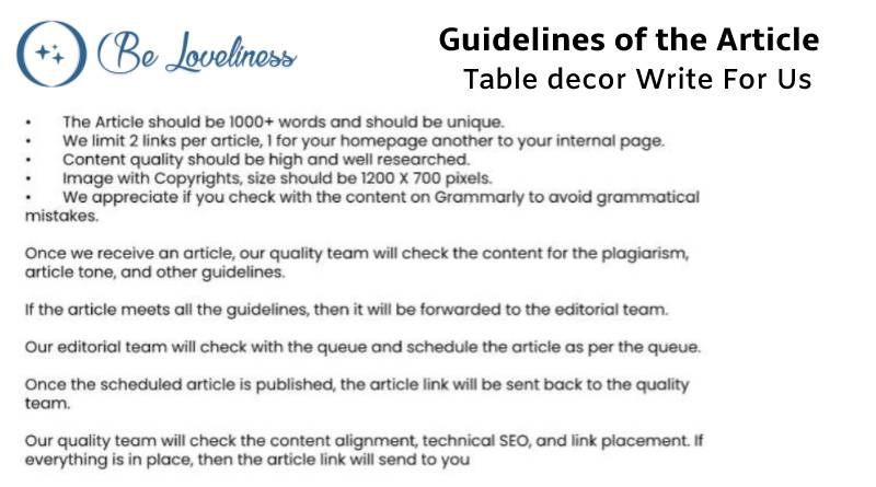 Guidelines Table decor write for us